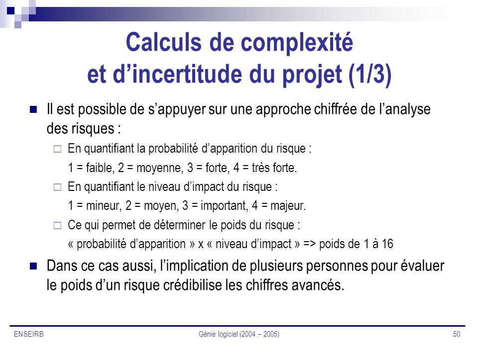 Génie logiciel (2004 – 2005) 50 ENSEIRB Calculs de complexité et dincertitude du projet (1/3) Il est possible de sappuyer sur une approche chiffrée de