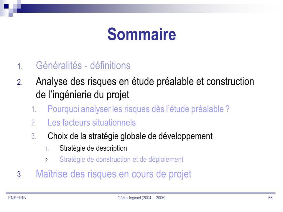 Génie logiciel (2004 – 2005) 55 ENSEIRB Sommaire 1. Généralités - définitions 2. Analyse des risques en étude préalable et construction de lingénierie