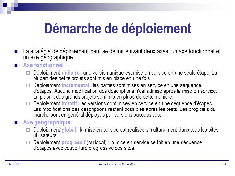 Génie logiciel (2004 – 2005) 61 ENSEIRB Démarche de déploiement La stratégie de déploiement peut se définir suivant deux axes, un axe fonctionnel et u