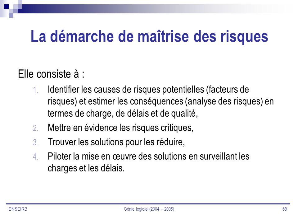 Génie logiciel (2004 – 2005) 68 ENSEIRB La démarche de maîtrise des risques Elle consiste à : 1. Identifier les causes de risques potentielles (facteu