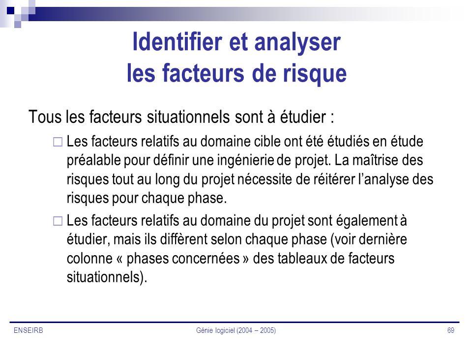 Génie logiciel (2004 – 2005) 69 ENSEIRB Identifier et analyser les facteurs de risque Tous les facteurs situationnels sont à étudier : Les facteurs re
