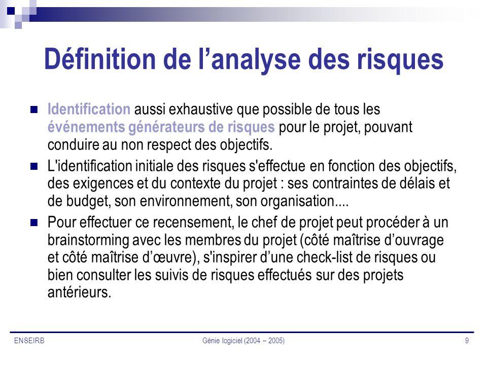 Génie logiciel (2004 – 2005) 9 ENSEIRB Définition de lanalyse des risques Identification aussi exhaustive que possible de tous les événements générate