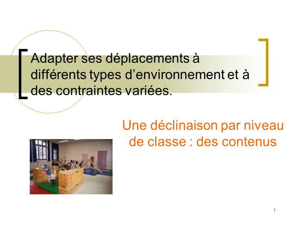 Adapter ses déplacements à différents types denvironnement et à des contraintes variées. Une déclinaison par niveau de classe : des contenus 1