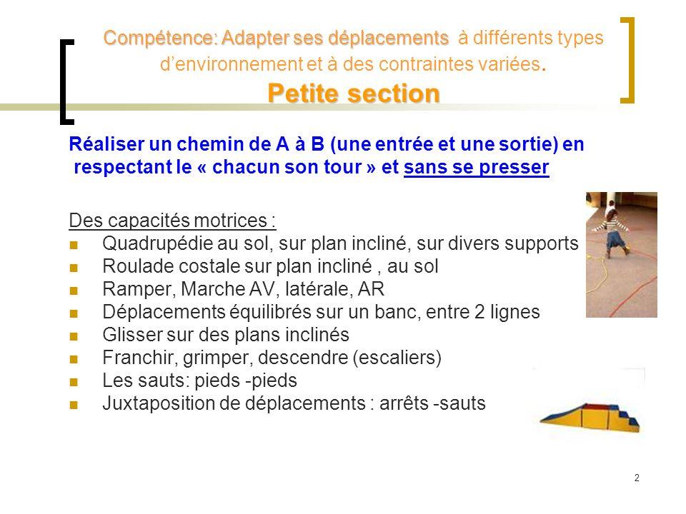 Compétence: Adapter ses déplacements Petite section Compétence: Adapter ses déplacements à différents types denvironnement et à des contraintes variée