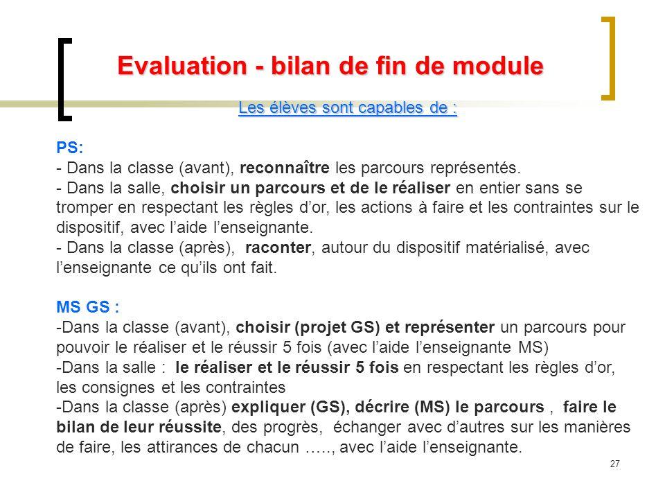 Evaluation - bilan de fin de module Les élèves sont capables de : PS: - Dans la classe (avant), reconnaître les parcours représentés. - Dans la salle,