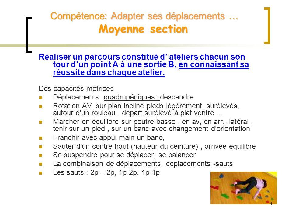 Choisir son chemin Roulade, quadrupédie, équilibre, sauts, déplacements Quadrupédie, déplacements, sauts, équilibre, roulade 0.5 maxi banc 25