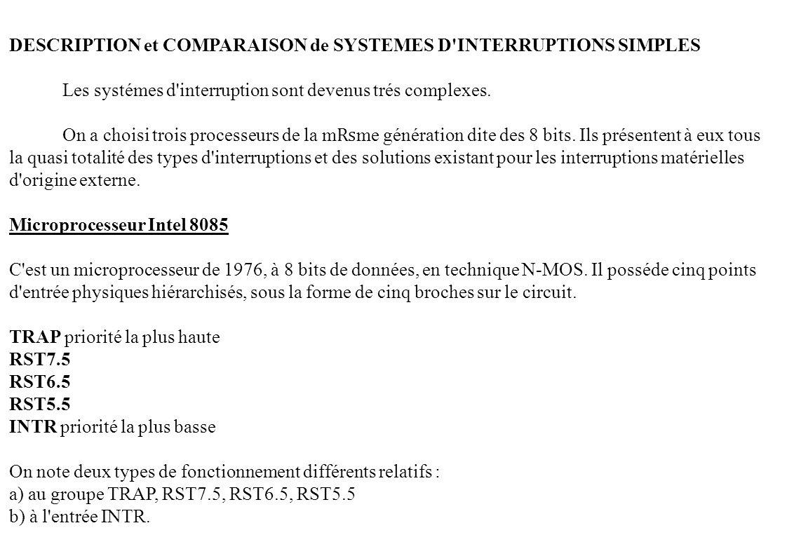 DESCRIPTION et COMPARAISON de SYSTEMES D'INTERRUPTIONS SIMPLES Les systémes d'interruption sont devenus trés complexes. On a choisi trois processeurs