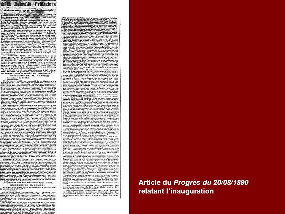 Article du Progrès du 20/08/1890 relatant linauguration