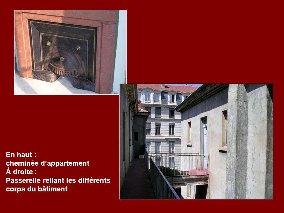 En haut : cheminée dappartement À droite : Passerelle reliant les différents corps du bâtiment