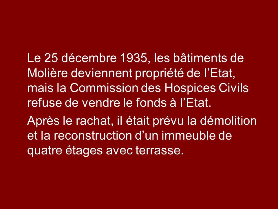 Le 25 décembre 1935, les bâtiments de Molière deviennent propriété de lEtat, mais la Commission des Hospices Civils refuse de vendre le fonds à lEtat.