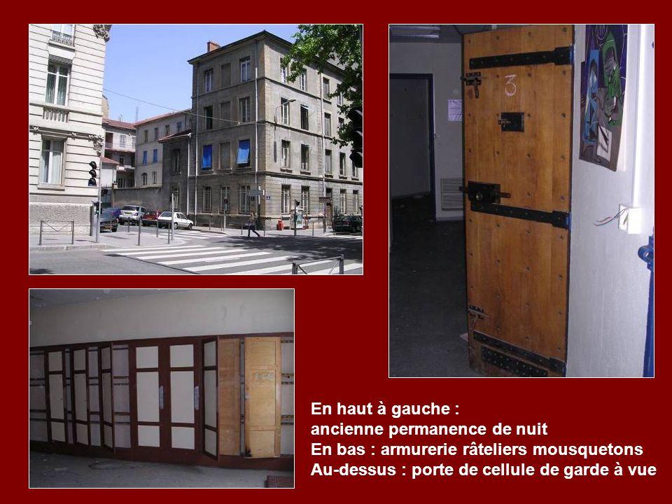 En haut à gauche : ancienne permanence de nuit En bas : armurerie râteliers mousquetons Au-dessus : porte de cellule de garde à vue