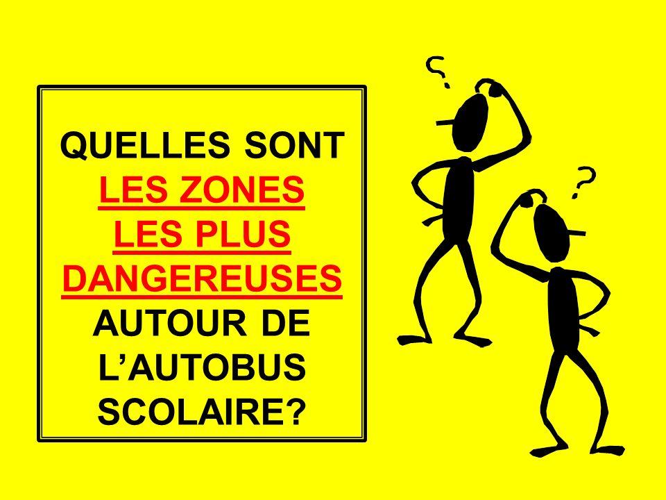 QUELLES SONT LES ZONES LES PLUS DANGEREUSES AUTOUR DE LAUTOBUS SCOLAIRE?