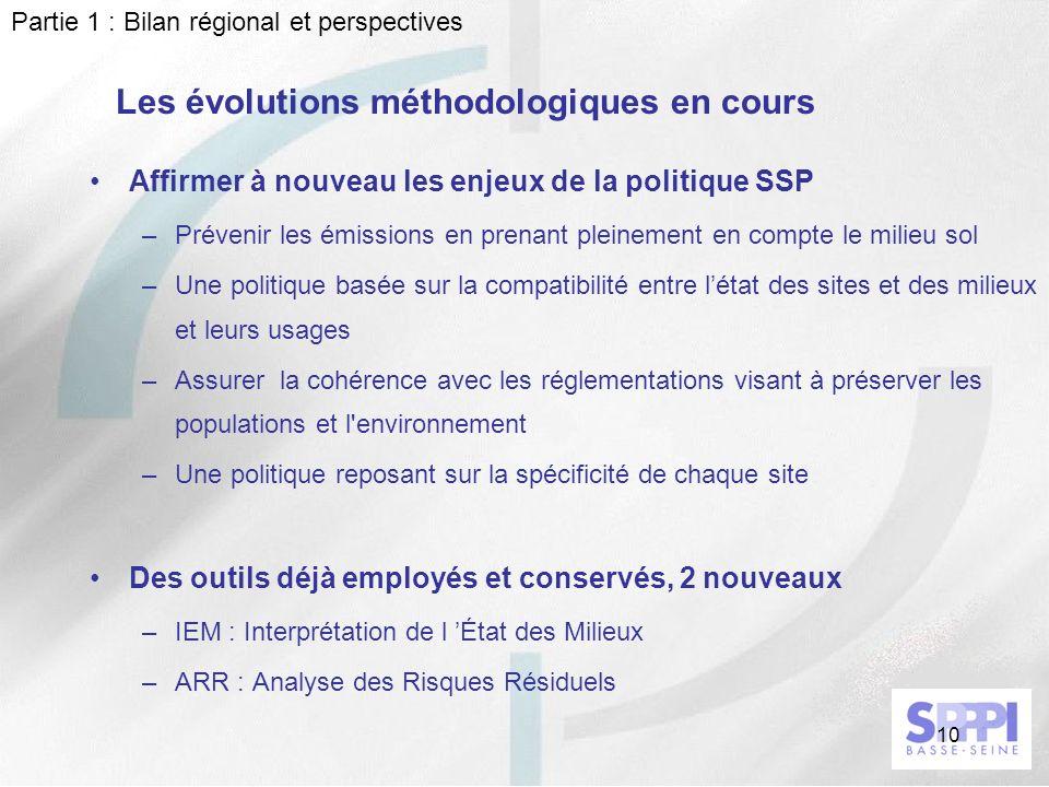 10 Les évolutions méthodologiques en cours Affirmer à nouveau les enjeux de la politique SSP –Prévenir les émissions en prenant pleinement en compte l