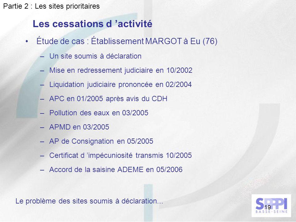 19 Les cessations d activité Étude de cas : Établissement MARGOT à Eu (76) –Un site soumis à déclaration –Mise en redressement judiciaire en 10/2002 –