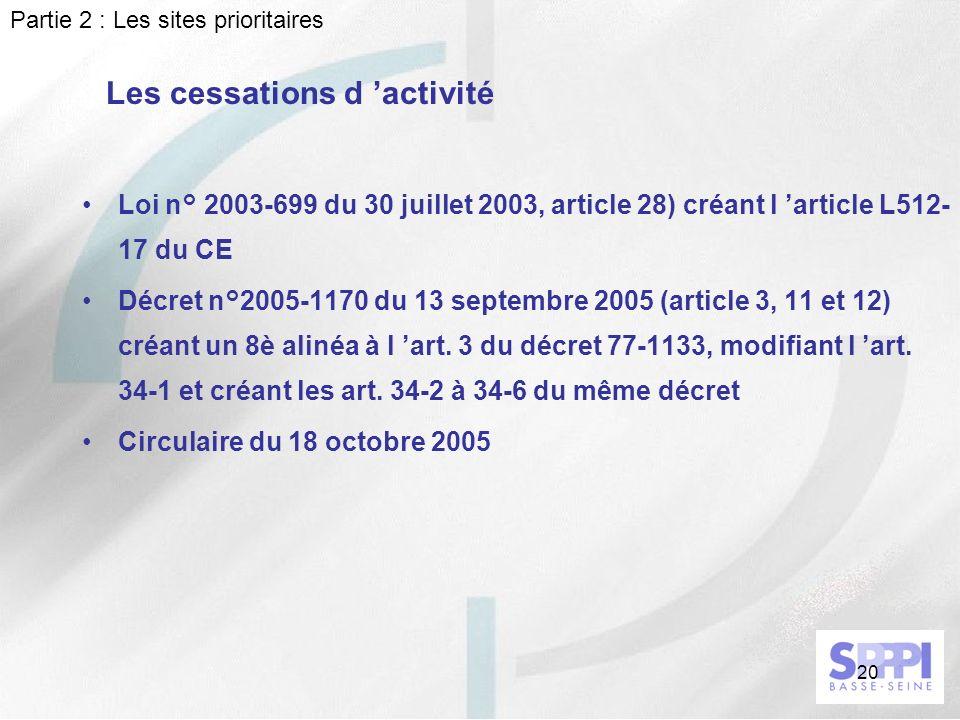 20 Les cessations d activité Loi n° 2003-699 du 30 juillet 2003, article 28) créant l article L512- 17 du CE Décret n°2005-1170 du 13 septembre 2005 (