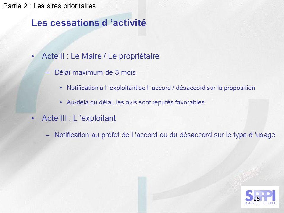 25 Acte II : Le Maire / Le propriétaire –Délai maximum de 3 mois Notification à l exploitant de l accord / désaccord sur la proposition Au-delà du dél