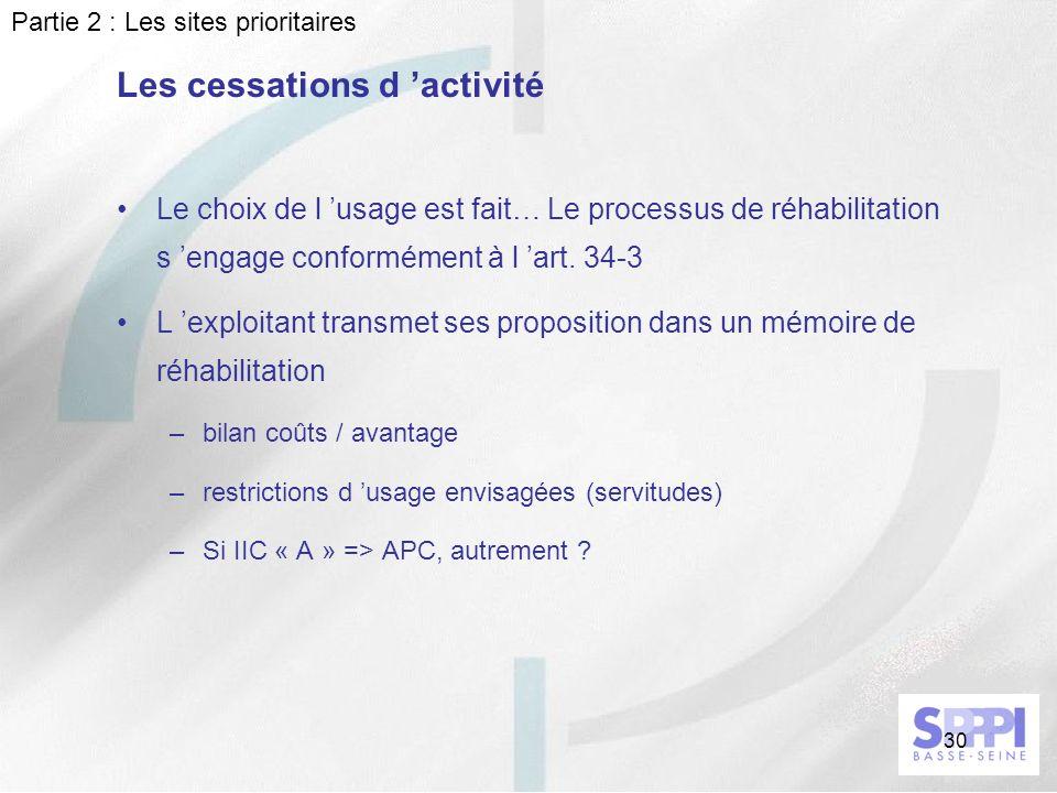 30 Le choix de l usage est fait… Le processus de réhabilitation s engage conformément à l art. 34-3 L exploitant transmet ses proposition dans un mémo
