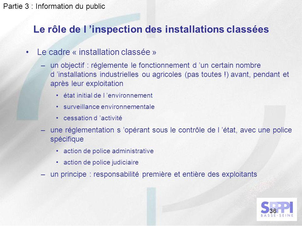 36 Le rôle de l inspection des installations classées Le cadre « installation classée » –un objectif : réglemente le fonctionnement d un certain nombr