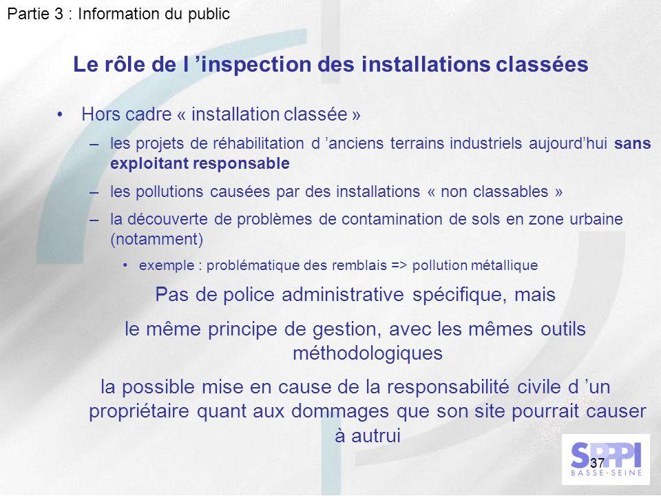 37 Le rôle de l inspection des installations classées Hors cadre « installation classée » –les projets de réhabilitation d anciens terrains industriel