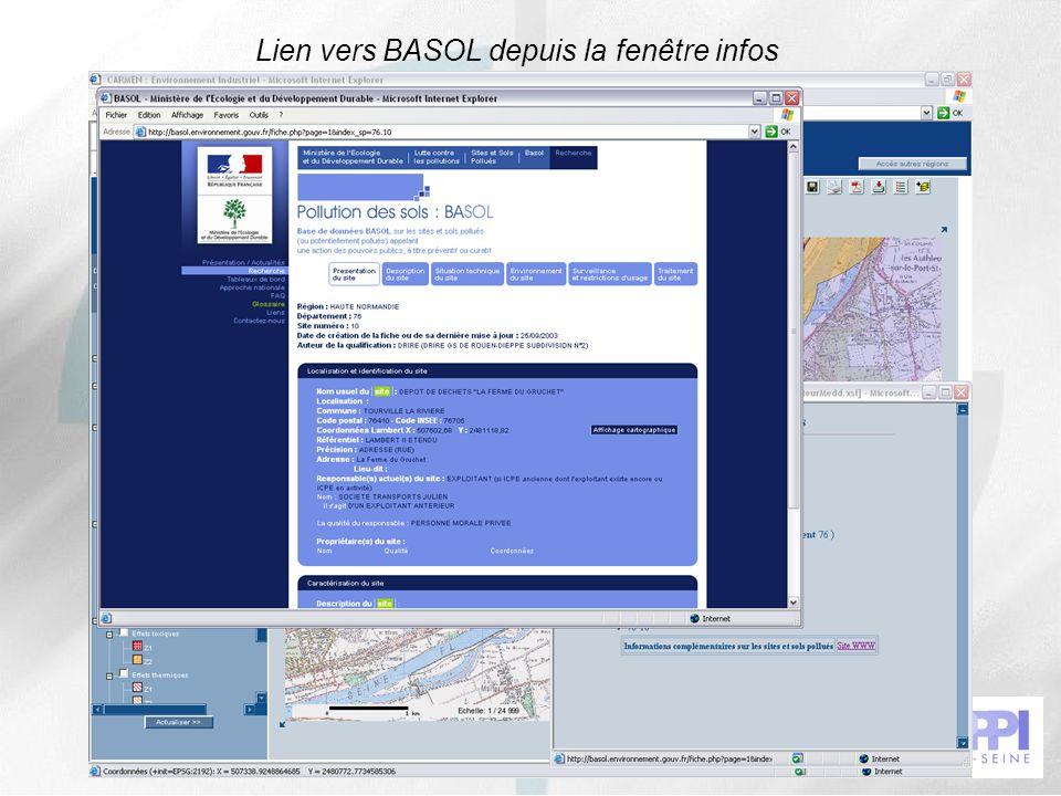 46 Lien vers BASOL depuis la fenêtre infos