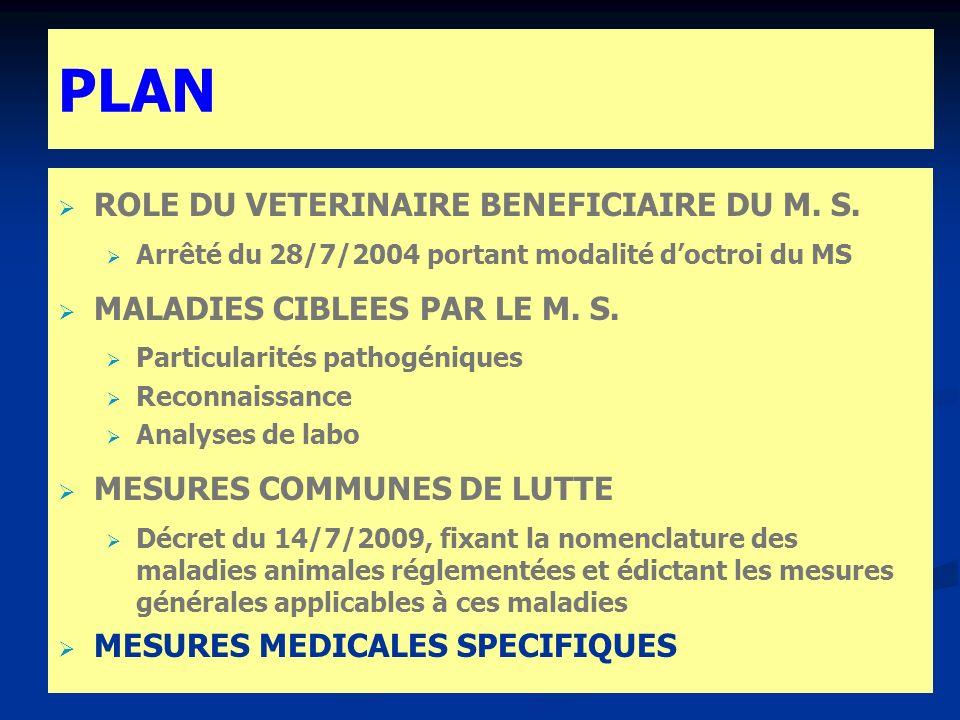 PLAN ROLE DU VETERINAIRE BENEFICIAIRE DU M. S. Arrêté du 28/7/2004 portant modalité doctroi du MS MALADIES CIBLEES PAR LE M. S. Particularités pathogé