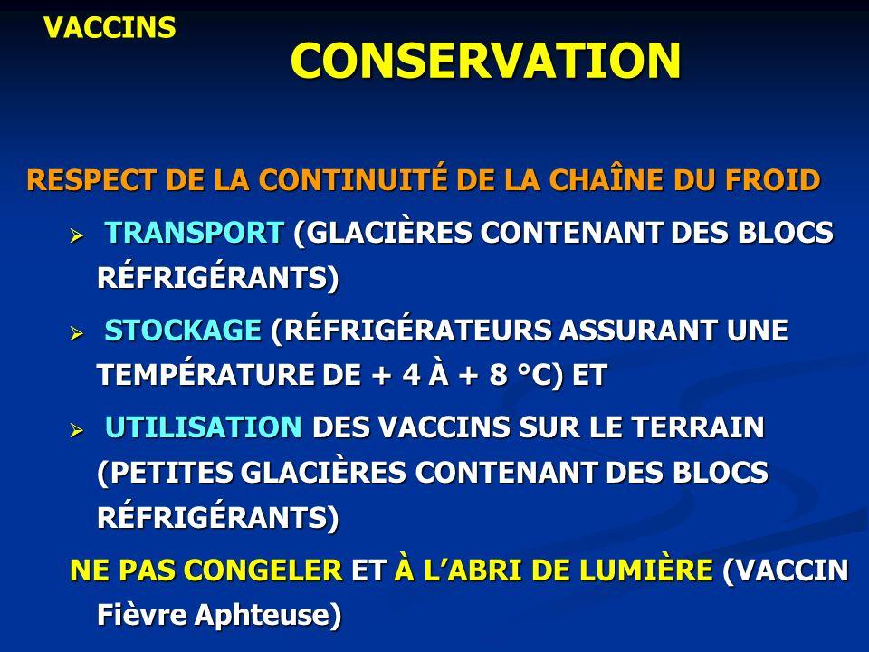 CONSERVATION RESPECT DE LA CONTINUITÉ DE LA CHAÎNE DU FROID TRANSPORT (GLACIÈRES CONTENANT DES BLOCS RÉFRIGÉRANTS) TRANSPORT (GLACIÈRES CONTENANT DES