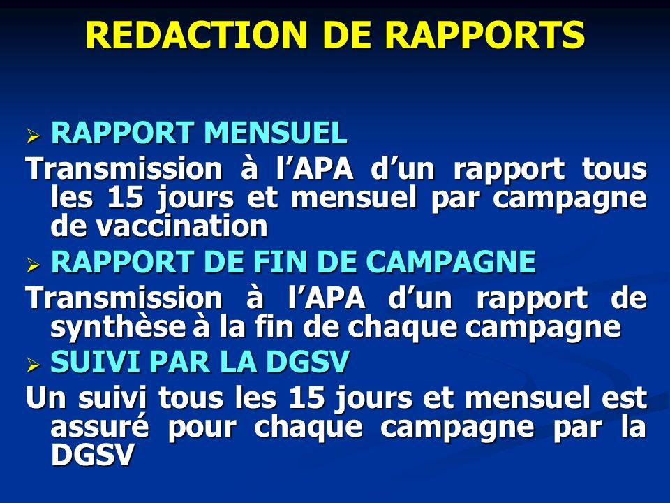 REDACTION DE RAPPORTS RAPPORT MENSUEL RAPPORT MENSUEL Transmission à lAPA dun rapport tous les 15 jours et mensuel par campagne de vaccination RAPPORT
