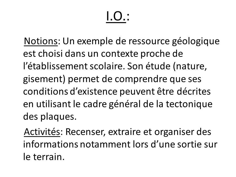 I.O.: Notions: Un exemple de ressource géologique est choisi dans un contexte proche de létablissement scolaire.