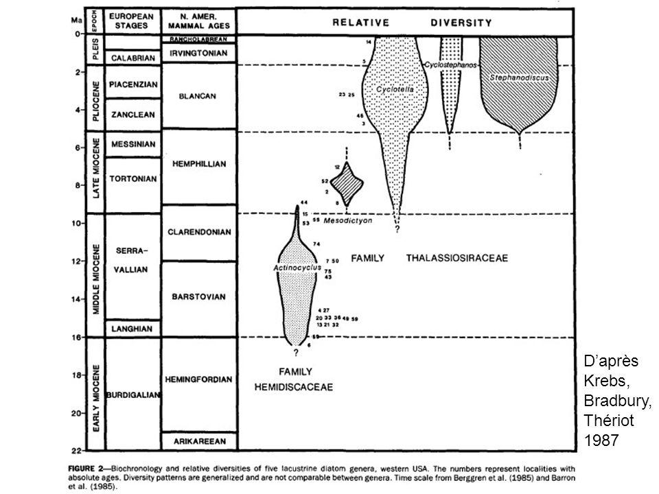 Tableau chronologique Krebs Daprès Krebs, Bradbury, Thériot 1987