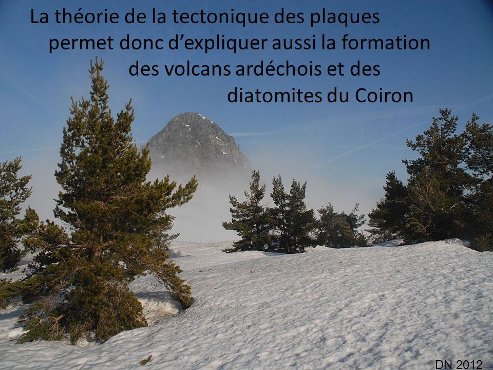 La théorie de la tectonique des plaques permet donc dexpliquer aussi la formation des volcans ardéchois et des diatomites du Coiron DN 2012