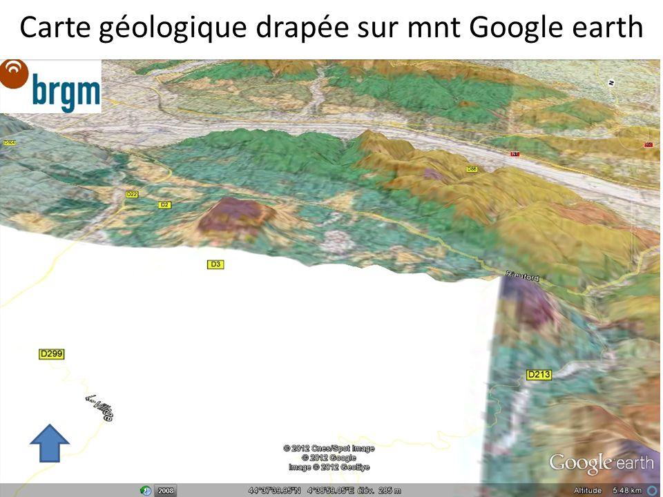 Carte géologique drapée sur mnt Google earth