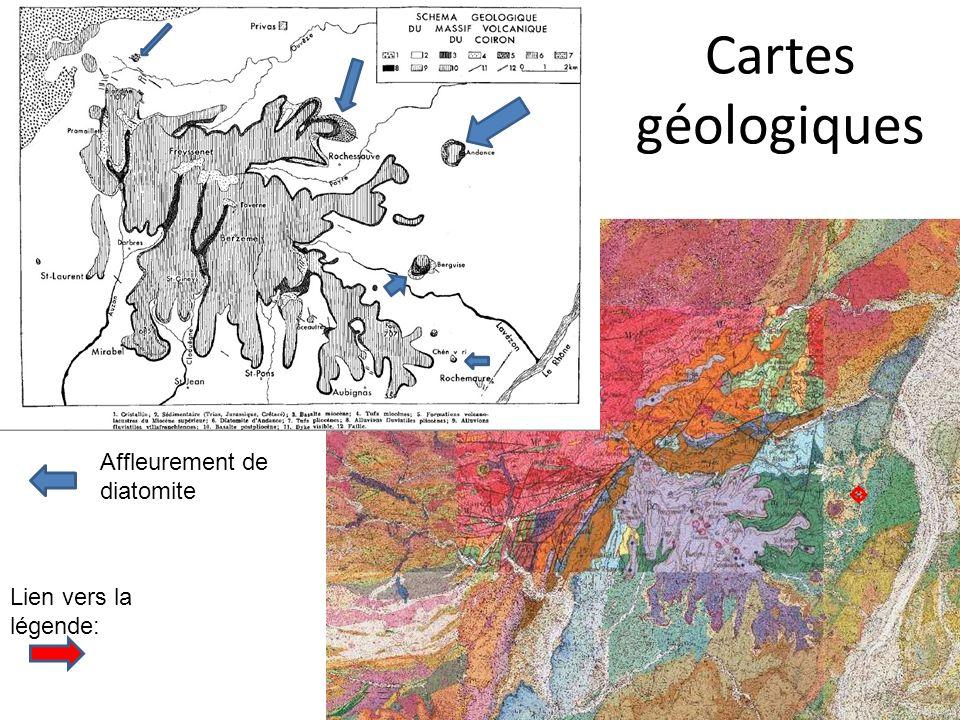 Coupe du massif dAndance selon Grangeon 1960 et Carte géologique 1/50 000 e (sur le géoportail)