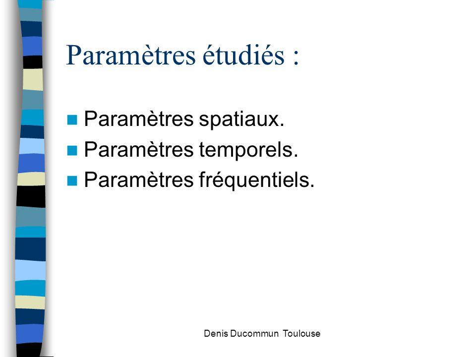 Paramètres étudiés : Paramètres spatiaux. Paramètres temporels. Paramètres fréquentiels. Denis Ducommun Toulouse