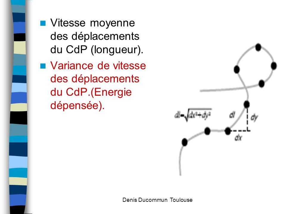 Vitesse moyenne des déplacements du CdP (longueur). Variance de vitesse des déplacements du CdP.(Energie dépensée). Denis Ducommun Toulouse