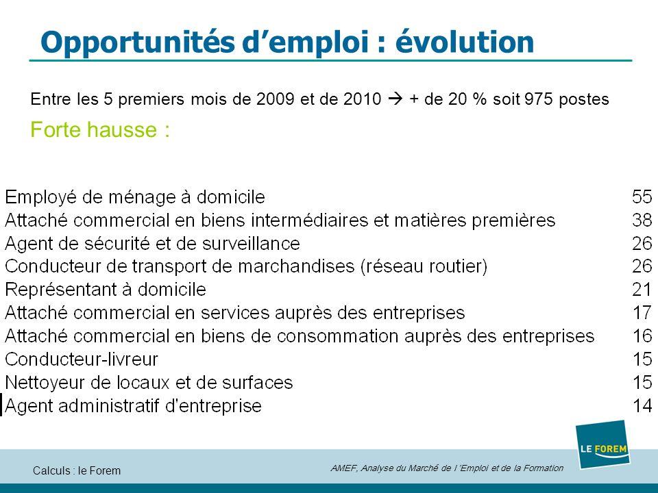 AMEF, Analyse du Marché de l Emploi et de la Formation Calculs : le Forem Opportunités demploi : évolution Entre les 5 premiers mois de 2009 et de 2010 + de 20 % soit 975 postes Forte hausse :