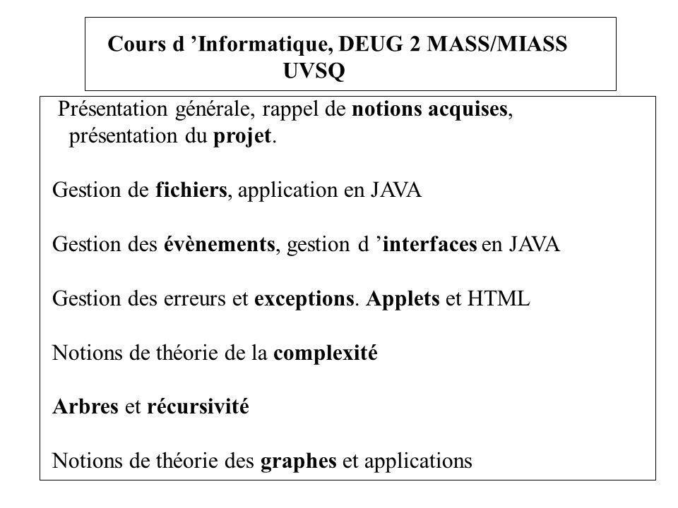 Cours d Informatique, DEUG 2 MASS/MIASS UVSQ Présentation générale, rappel de notions acquises, présentation du projet. Gestion de fichiers, applicati