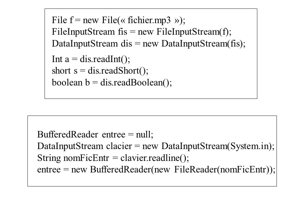 File f = new File(« fichier.mp3 »); FileInputStream fis = new FileInputStream(f); DataInputStream dis = new DataInputStream(fis); Int a = dis.readInt(