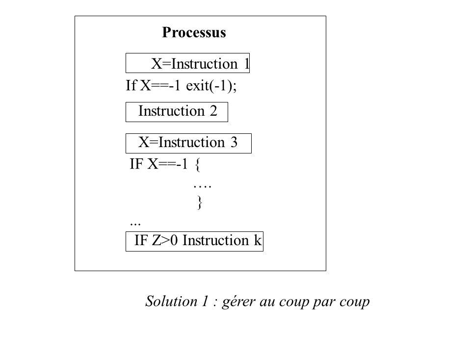 Processus X=Instruction 1 Instruction 2 X=Instruction 3 If X==-1 exit(-1); IF X==-1 { …. }... IF Z>0 Instruction k Solution 1 : gérer au coup par coup