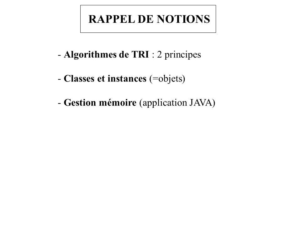 RAPPEL DE NOTIONS - Algorithmes de TRI : 2 principes - Classes et instances (=objets) - Gestion mémoire (application JAVA)