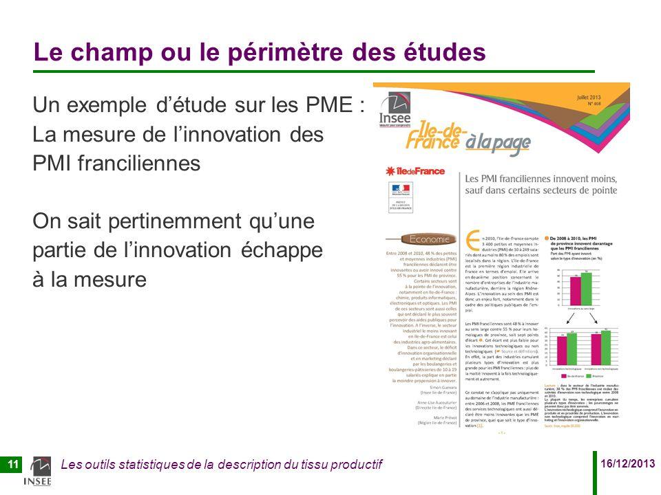 16/12/2013 Les outils statistiques de la description du tissu productif 11 Le champ ou le périmètre des études Un exemple détude sur les PME : La mesu