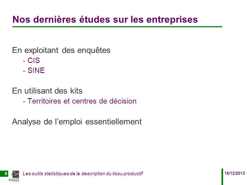 16/12/2013 Les outils statistiques de la description du tissu productif 6 Nos dernières études sur les entreprises En exploitant des enquêtes - CIS -