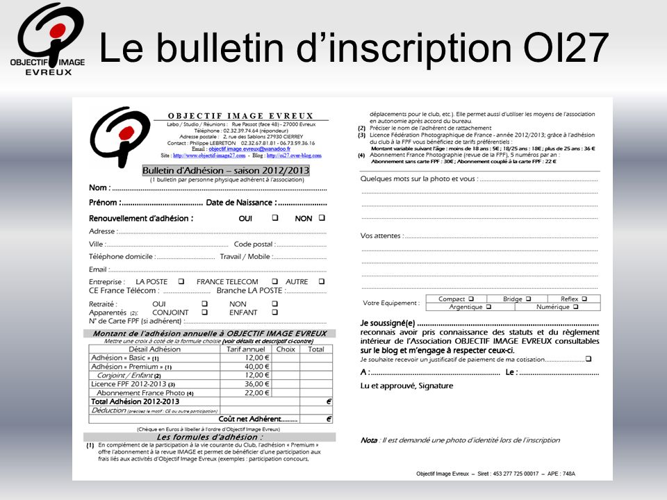 Le bulletin dinscription OI27