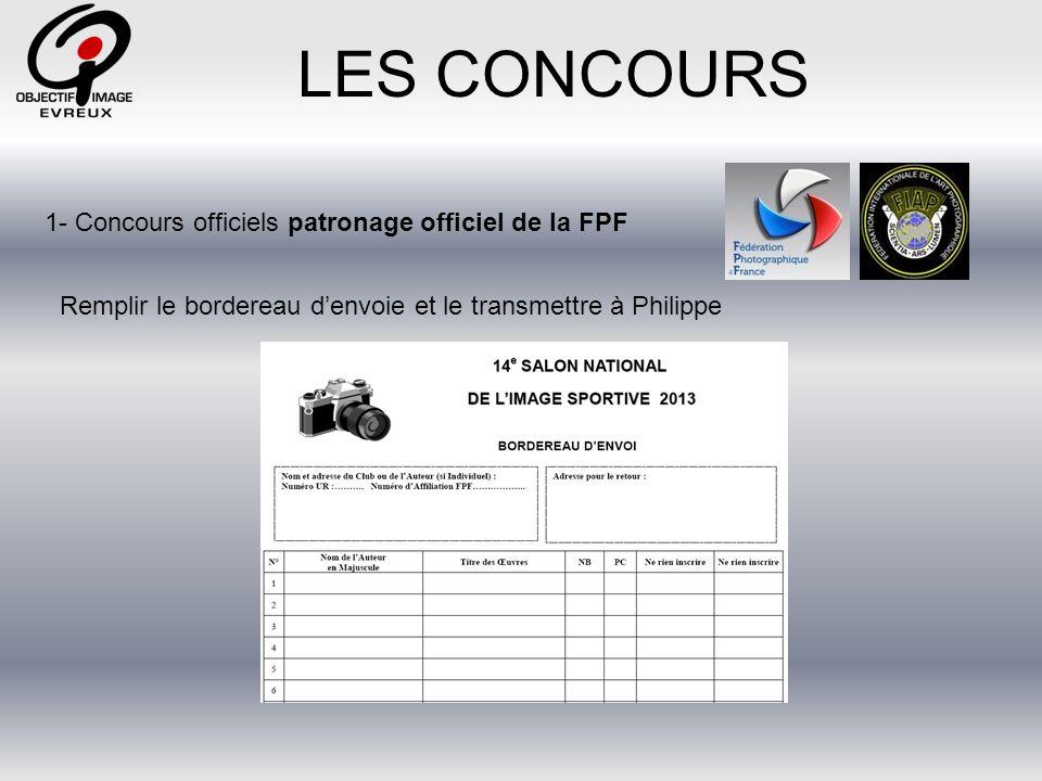 Les Types de concours 1- Les concours officiels sous légide de la FPF 3- Les concours officiels dObjectif Image 2- Les concours officiels de la FPF 3- Les concours régionaux
