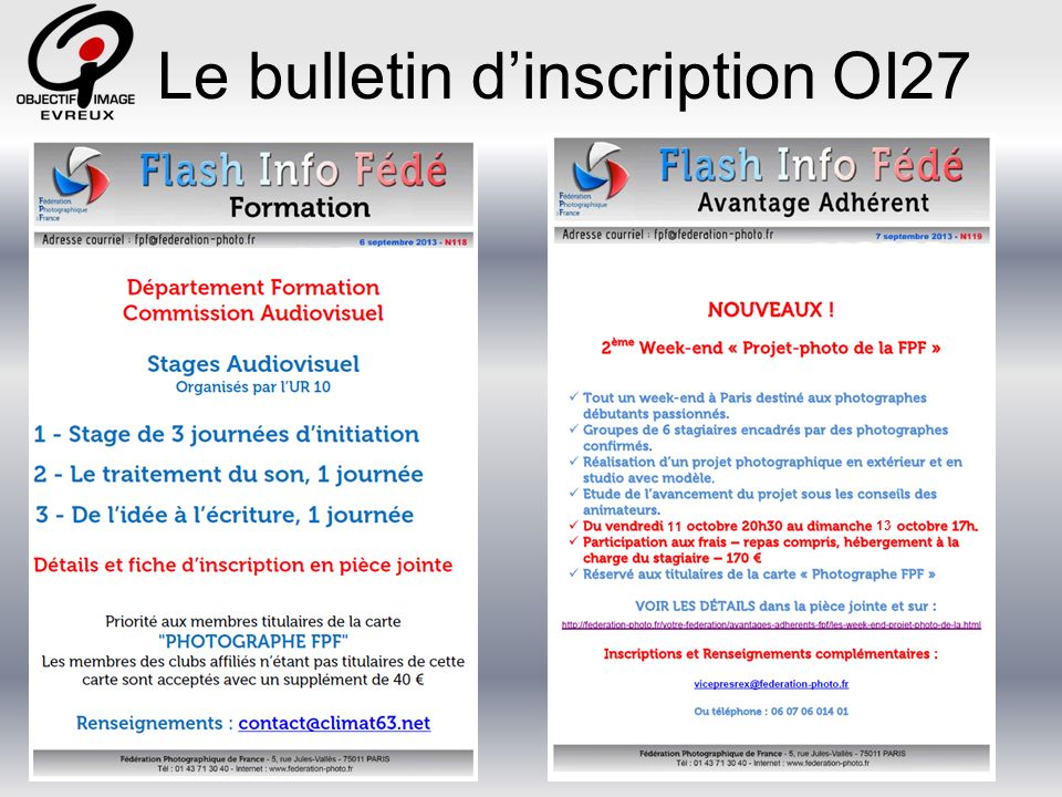 Le bulletin dinscription OI27 11 13