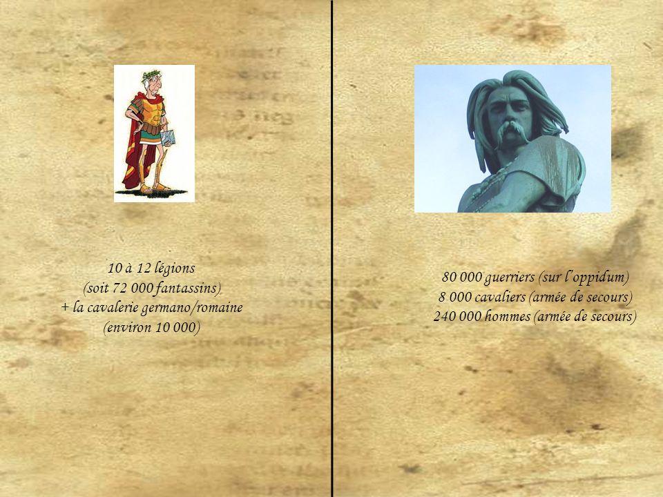 10 à 12 légions (soit 72 000 fantassins) + la cavalerie germano/romaine (environ 10 000) 80 000 guerriers (sur loppidum) 8 000 cavaliers (armée de secours) 240 000 hommes (armée de secours)