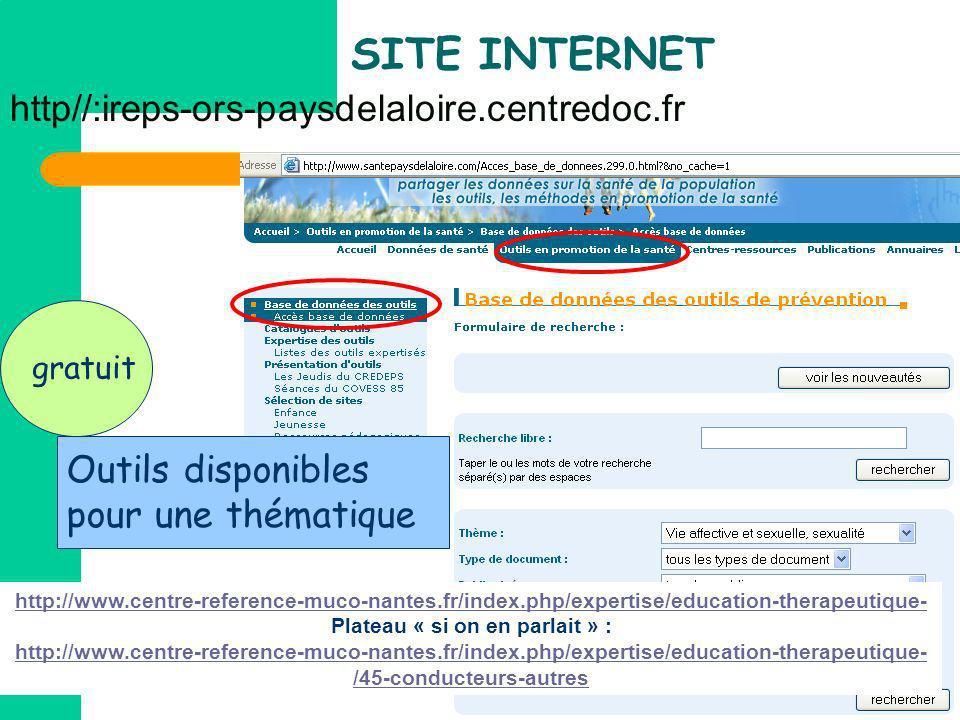 SITE INTERNET http//:ireps-ors-paysdelaloire.centredoc.fr gratuit Outils disponibles pour une thématique http://www.centre-reference-muco-nantes.fr/in