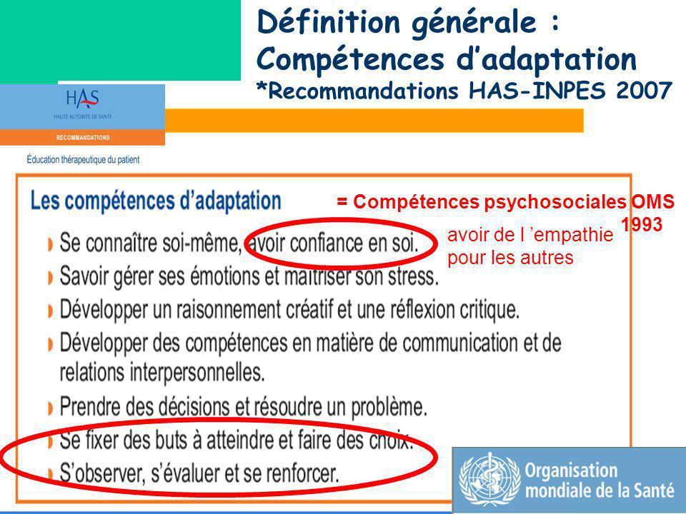 = Compétences psychosociales OMS 1993 avoir de l empathie pour les autres Définition générale : Compétences dadaptation *Recommandations HAS-INPES 200