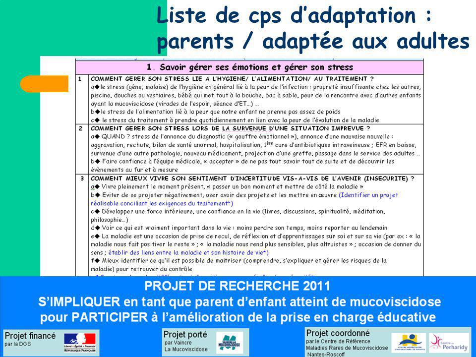 Liste de cps dadaptation : parents / adaptée aux adultes