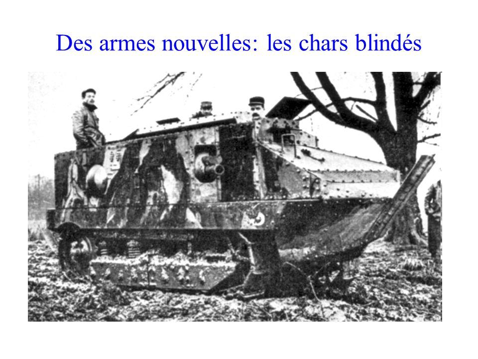 Des armes nouvelles: les chars blindés