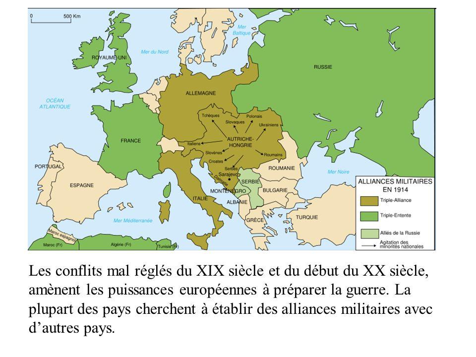 Les alliances Les conflits mal réglés du XIX siècle et du début du XX siècle, amènent les puissances européennes à préparer la guerre. La plupart des